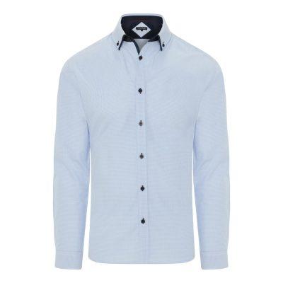 Fashion 4 Men - Tarocash Cecil Slim Check Shirt Sky Xxl