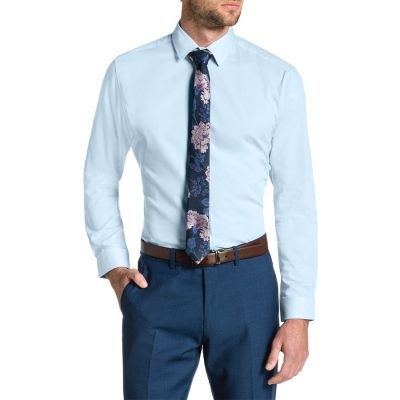 Fashion 4 Men - Tarocash Cyrus Slim Textured Dress Shirt Sky Xs