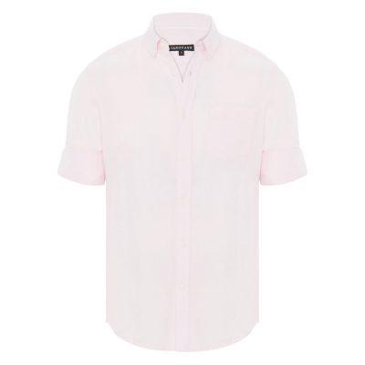 Fashion 4 Men - Tarocash Elliott Linen Blend Shirt Pink M