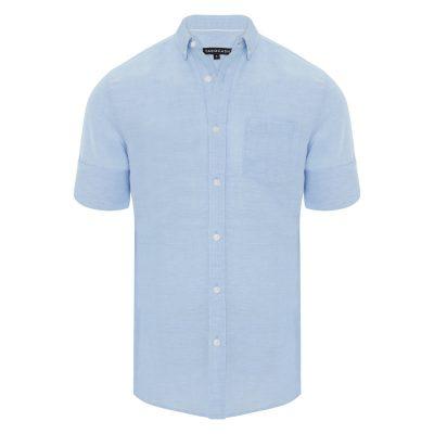 Fashion 4 Men - Tarocash Elliott Linen Blend Shirt Sky Xl