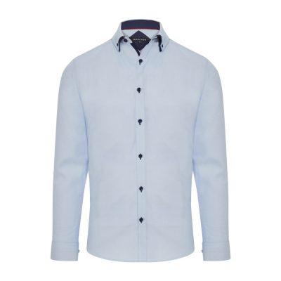 Fashion 4 Men - Tarocash Emilio Textured Shirt Sky 5 Xl