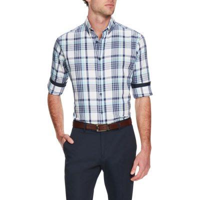 Fashion 4 Men - Tarocash Essential Check Shirt Aqua Xl