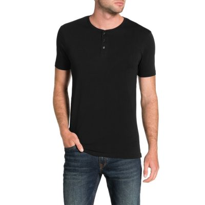 Fashion 4 Men - Tarocash Essential Henley Tee Black 4 Xl