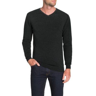 Fashion 4 Men - Tarocash Essential V Neck Knit Charcoal 5 Xl