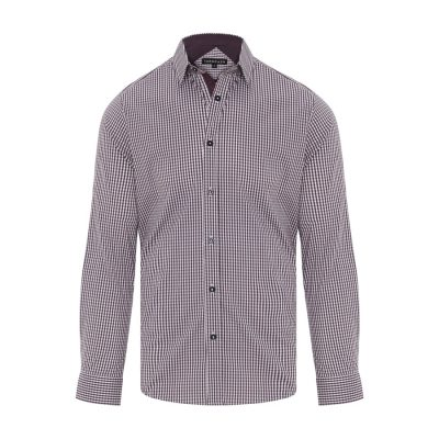Fashion 4 Men - Tarocash Fernando Stretch Check Shirt Berry 4 Xl