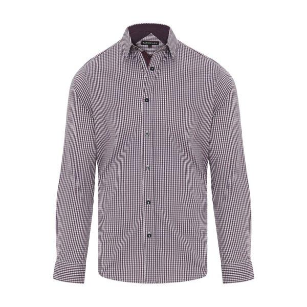 Fashion 4 Men - Tarocash Fernando Stretch Check Shirt Berry 4 Xl