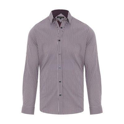 Fashion 4 Men - Tarocash Fernando Stretch Check Shirt Berry L