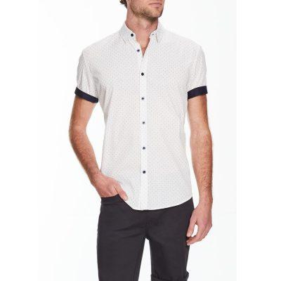 Fashion 4 Men - Tarocash Fireworks Print Shirt White L