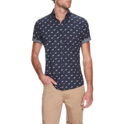 Fashion 4 Men - Tarocash Flamingo Print Shirt Navy M