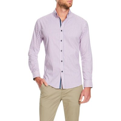Fashion 4 Men - Tarocash Havana Slim Check Stretch Shirt Pink L