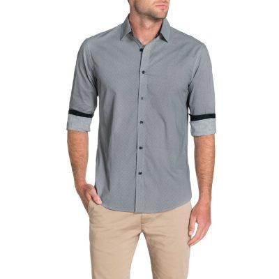 Fashion 4 Men - Tarocash Henry Print Shirt Navy Xl