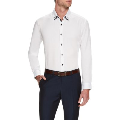 Fashion 4 Men - Tarocash Henry Textured Shirt White M