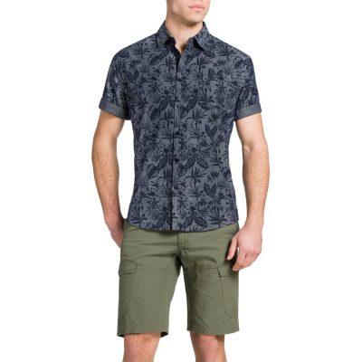 Fashion 4 Men - Tarocash Hibiscus Print Shirt Indigo 4 Xl