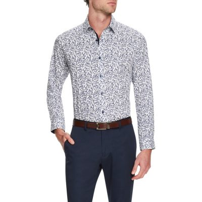 Fashion 4 Men - Tarocash Hope Print Shirt Navy Xxxl