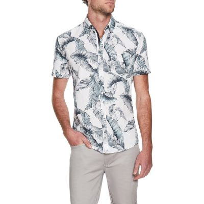 Fashion 4 Men - Tarocash Ibiza Palm Print Shirt White Xxxl