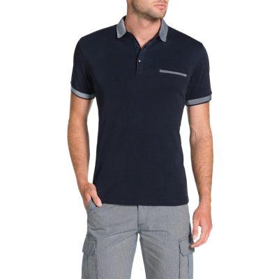 Fashion 4 Men - Tarocash Jacquard Collar Polo Navy S