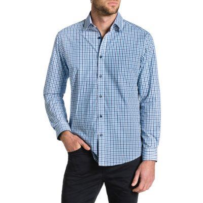 Fashion 4 Men - Tarocash Kenneth Check Shirt Blue Xl