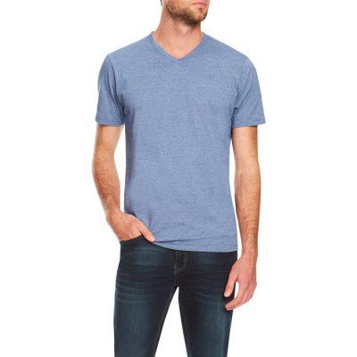 Fashion 4 Men - Tarocash Kraft Stripe V Neck Tee Blue 4 Xl
