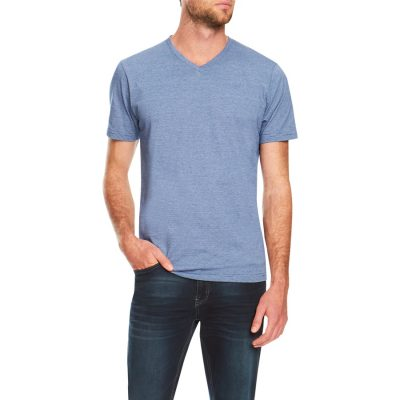 Fashion 4 Men - Tarocash Kraft Stripe V Neck Tee Blue Xxl
