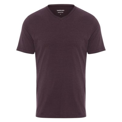 Fashion 4 Men - Tarocash Kraft Stripe V Neck Tee Burgundy 5 Xl