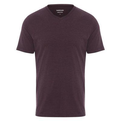 Fashion 4 Men - Tarocash Kraft Stripe V Neck Tee Burgundy Xxl