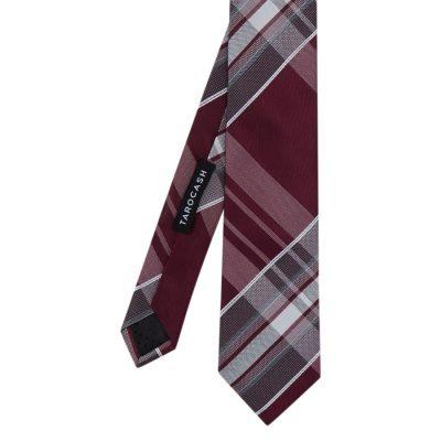 Fashion 4 Men - Tarocash Large Check Tie Burgundy 1