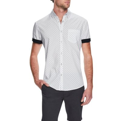 Fashion 4 Men - Tarocash Marlon Print Shirt White M