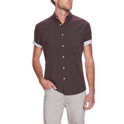 Fashion 4 Men - Tarocash Maui Spot Print Shirt Burgundy 5 Xl