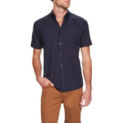 Fashion 4 Men - Tarocash Micro Ditsy Print Shirt Navy S