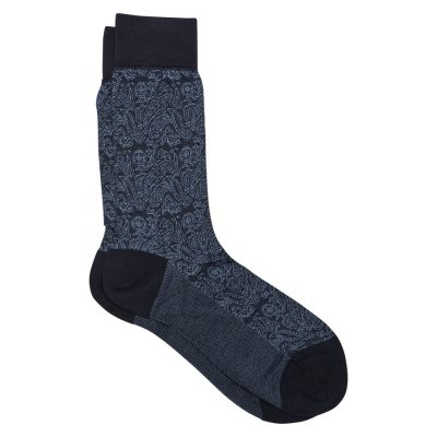 Fashion 4 Men - Tarocash Paisley Jacquard Sock Blue 1