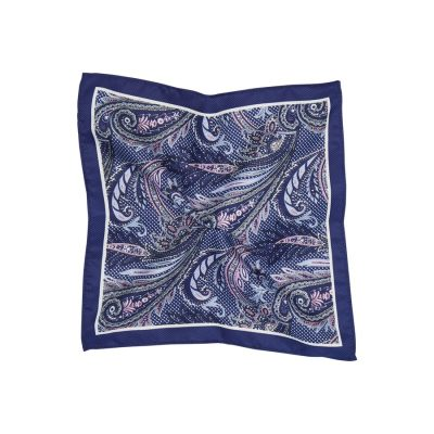 Fashion 4 Men - Tarocash Paisley Pocket Square Blue 1