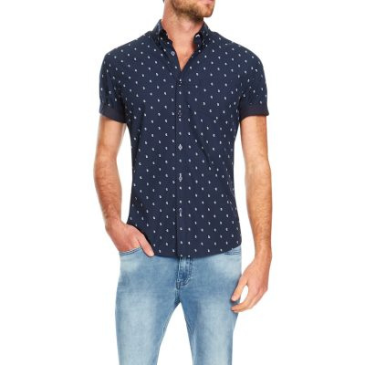 Fashion 4 Men - Tarocash Panang Paisley Print Shirt Navy S