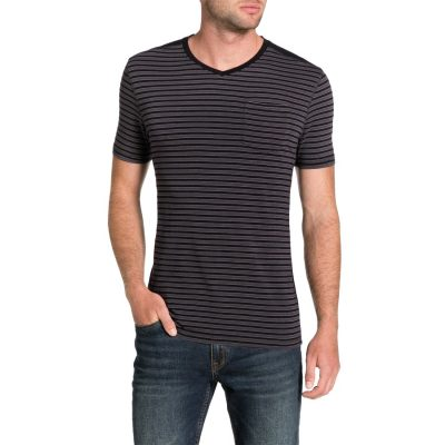 Fashion 4 Men - Tarocash Panel Stripe Tee Black S