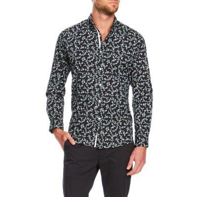 Fashion 4 Men - Tarocash Parliament Floral Stretch Shirt Black S
