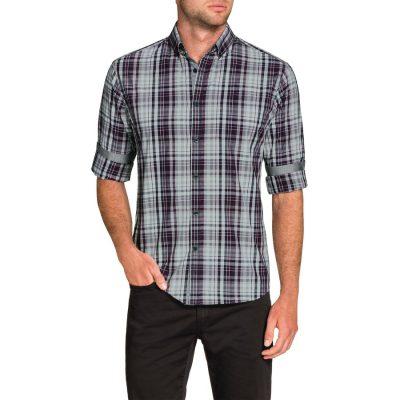 Fashion 4 Men - Tarocash Prince Slim Check Shirt Purple Xxxl