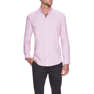 Fashion 4 Men - Tarocash Ringwald Textured Shirt Pink 4 Xl