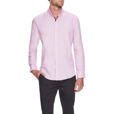 Fashion 4 Men - Tarocash Ringwald Textured Shirt Pink 5 Xl