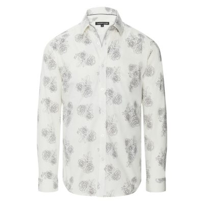 Fashion 4 Men - Tarocash Sketch Stretch Slim Floral Shirt Ivory Xl