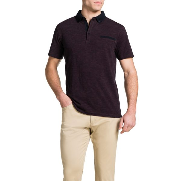 Fashion 4 Men - Tarocash Slub Stripe Polo Burgundy 4 Xl