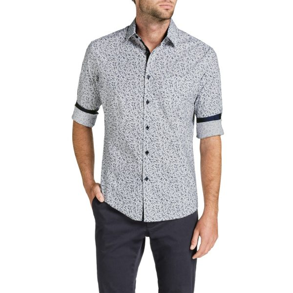 Fashion 4 Men - Tarocash Stirling Slim Floral Print Shirt Navy Xs
