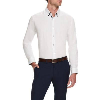 Fashion 4 Men - Tarocash Waterhouse Textured Shirt White Xxl