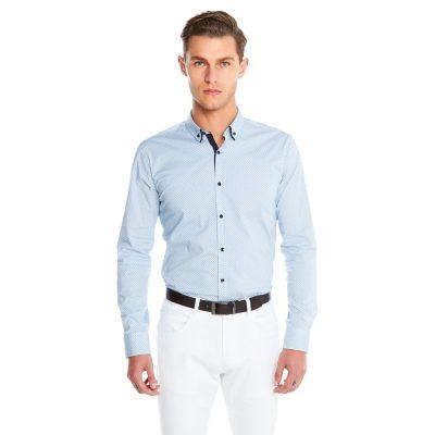 Fashion 4 Men - yd. Bermuda Slim Fit Shirt Blue Xl