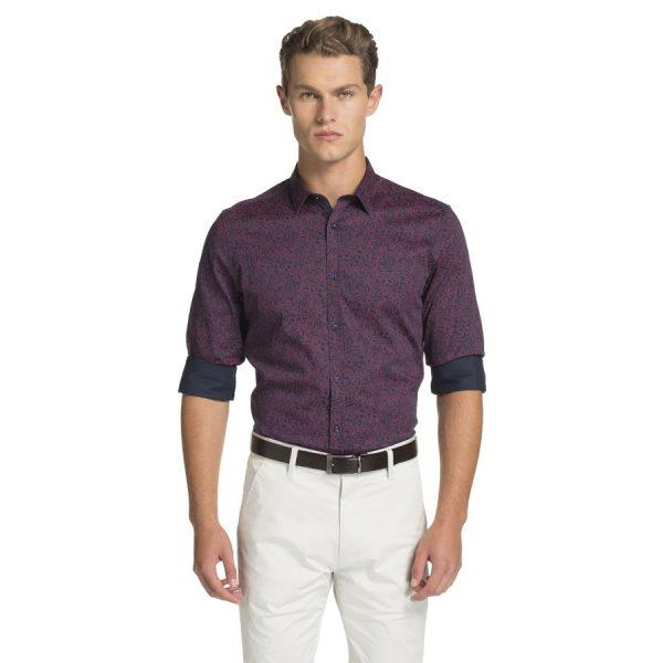 Fashion 4 Men - yd. Elvis Paisley Slim Fit Shirt Dark Blue 2 Xs