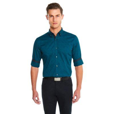Fashion 4 Men - yd. Paisley Print Slim Fit Shirt Teal Xs