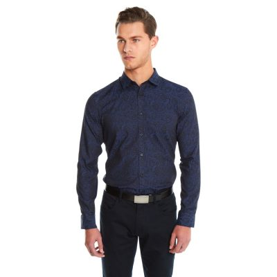 Fashion 4 Men - yd. Rose Jacquard Slim Fit Shirt Navy 2 Xs