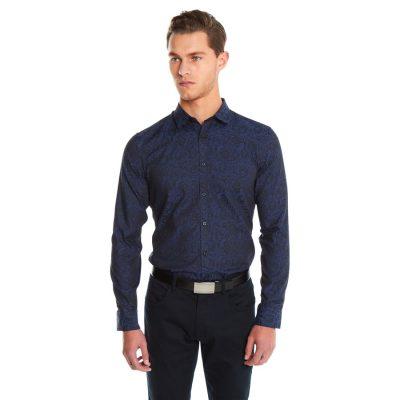 Fashion 4 Men - yd. Rose Jacquard Slim Fit Shirt Navy Xxl