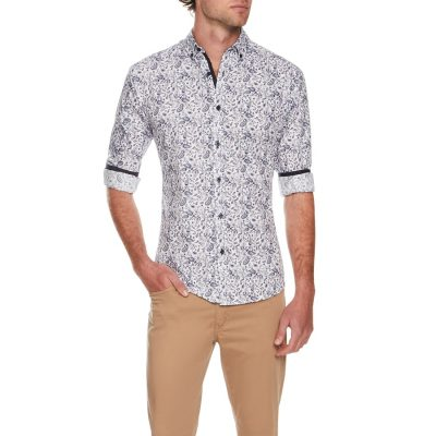 Fashion 4 Men - Tarocash Abby Road Slim Print Shirt Navy M