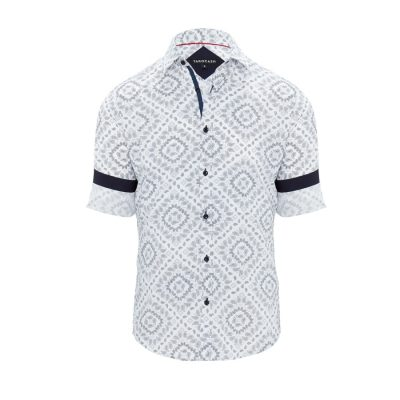 Fashion 4 Men - Tarocash Antonio Paisley Print Shirt White Xs