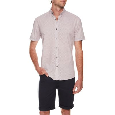 Fashion 4 Men - Tarocash Dalmeny Print Shirt Burgundy S