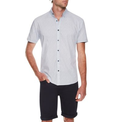Fashion 4 Men - Tarocash Dalmeny Print Shirt Sky M